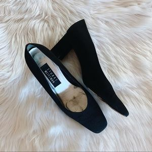 Stuart Weitzman Black Square Toe Pumps